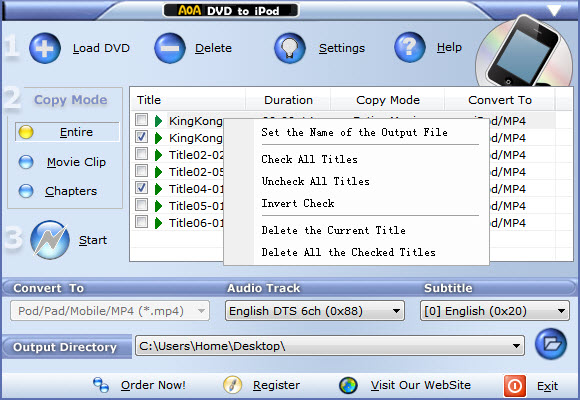 Click to view AoA DVD to iPod 3.0.3.1 screenshot