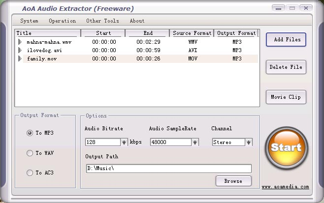 Screenshot #1 of AoA Audio Extractor FREE / Windows