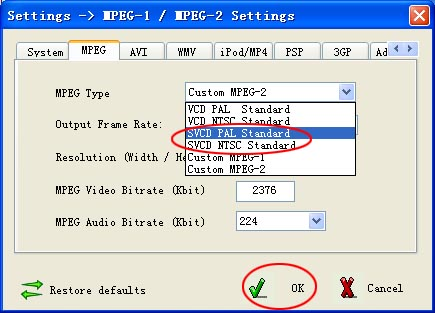 settings of dvd to svcd