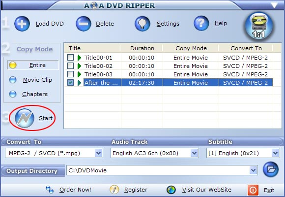start dvd to svcd/mpeg2 conversion