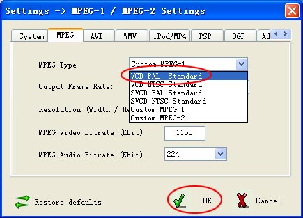 settings of dvd to vcd