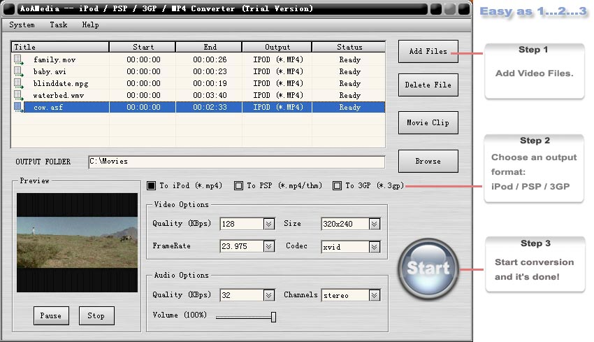UA iPod/PSP/3GP/MP4 Converter screenshot